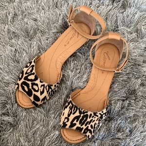 Leopard leather calf hair ankle strap sandals